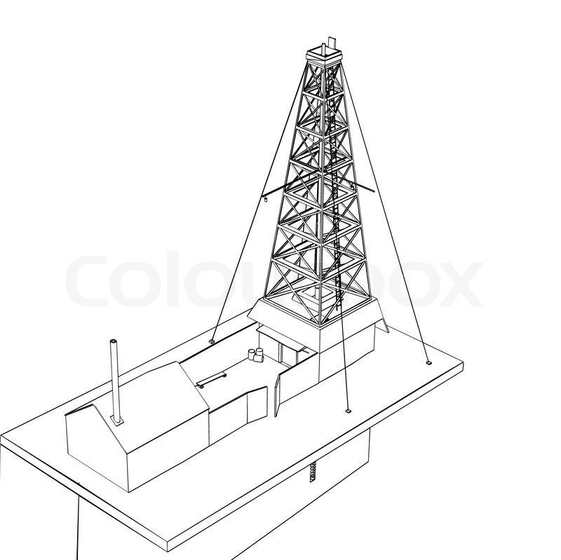 800x799 Oil Derrick Sketch Stock Vector Colourbox