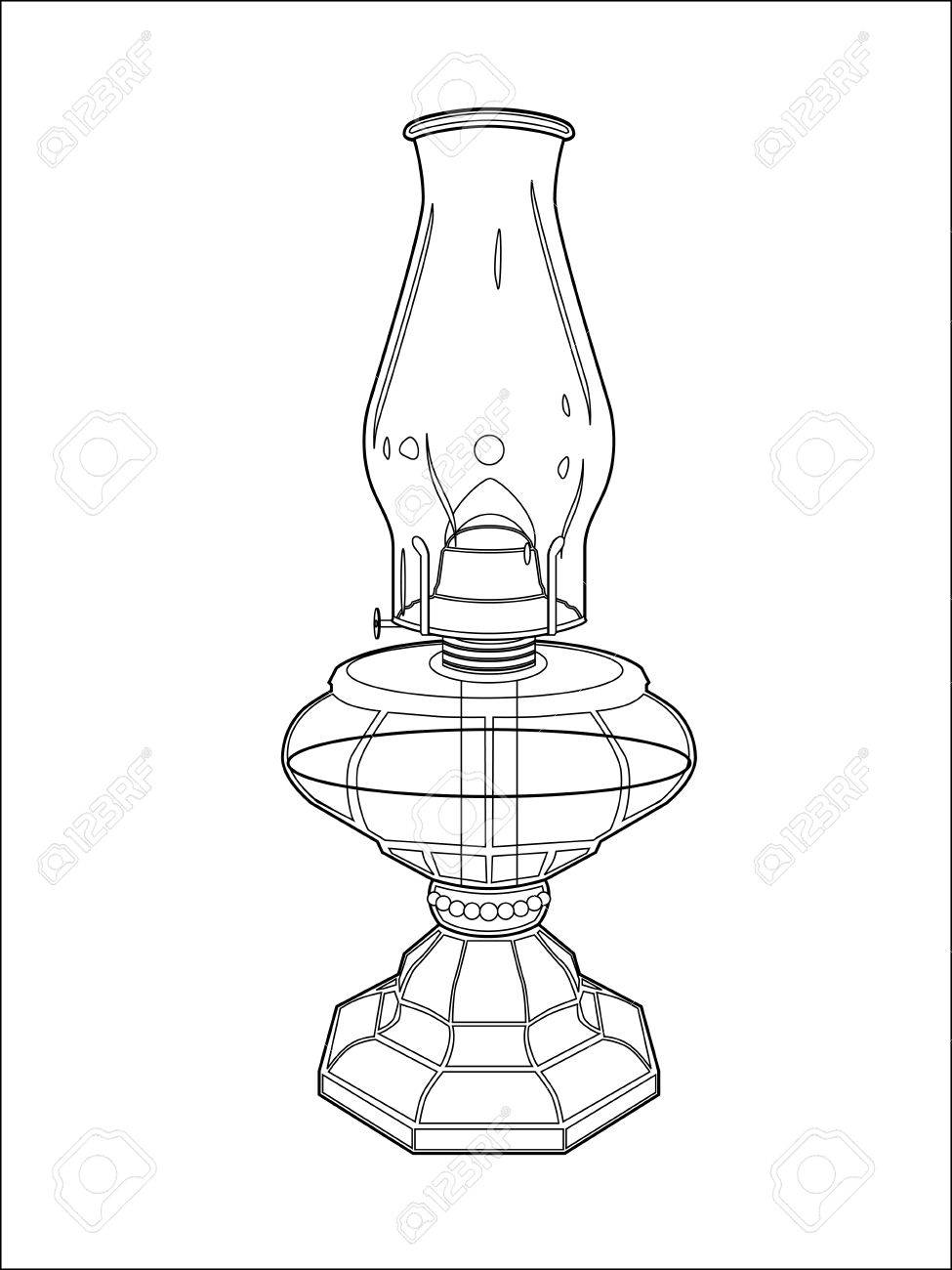 975x1300 Hurricane Lamp Line Art Royalty Free Cliparts, Vectors, And Stock