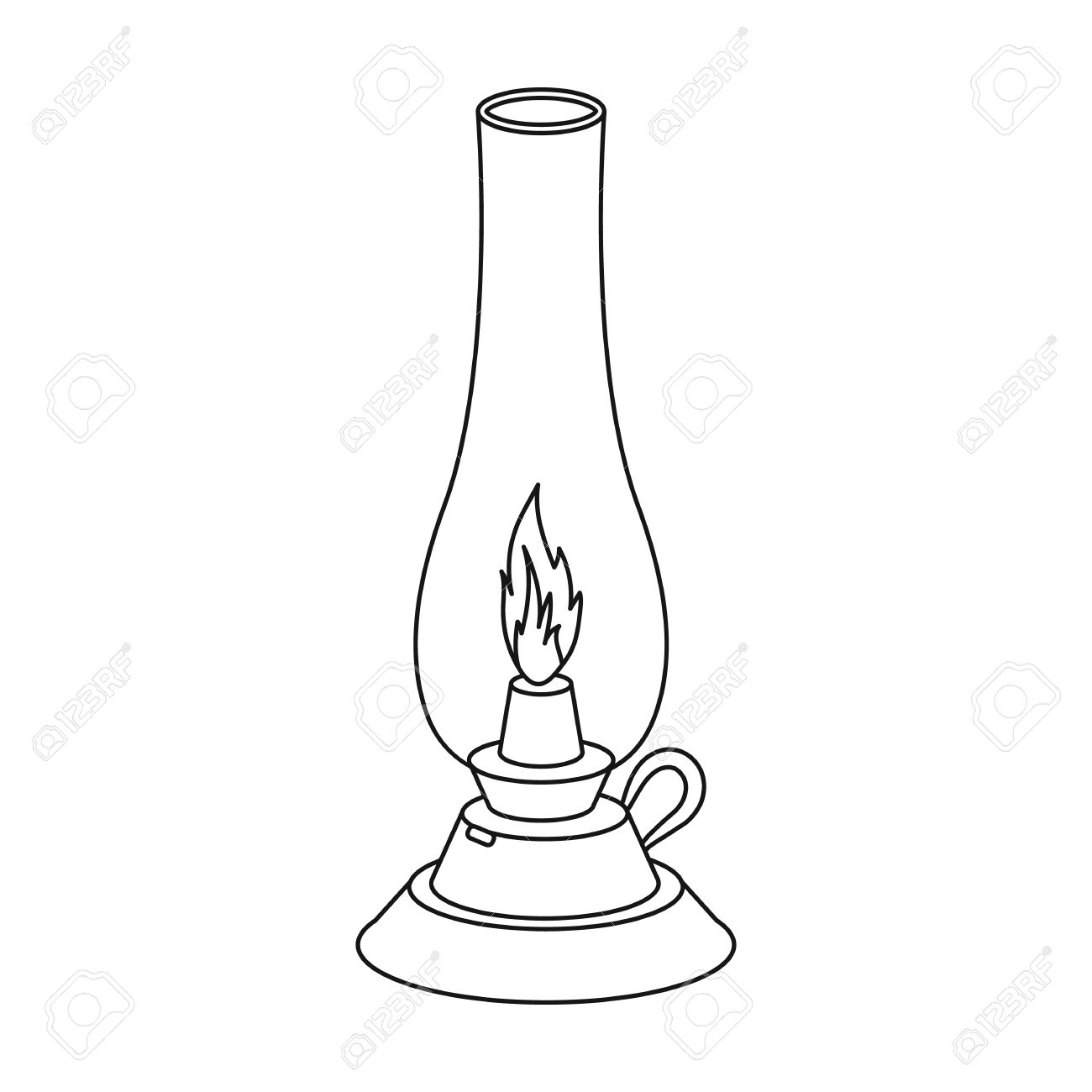 1300x1300 Kerosene Lamp Icon In Outline Style Isolated On White Background