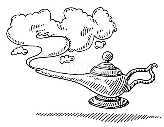 566x440 Magic Lamp Smoke Drawing Stock Vector