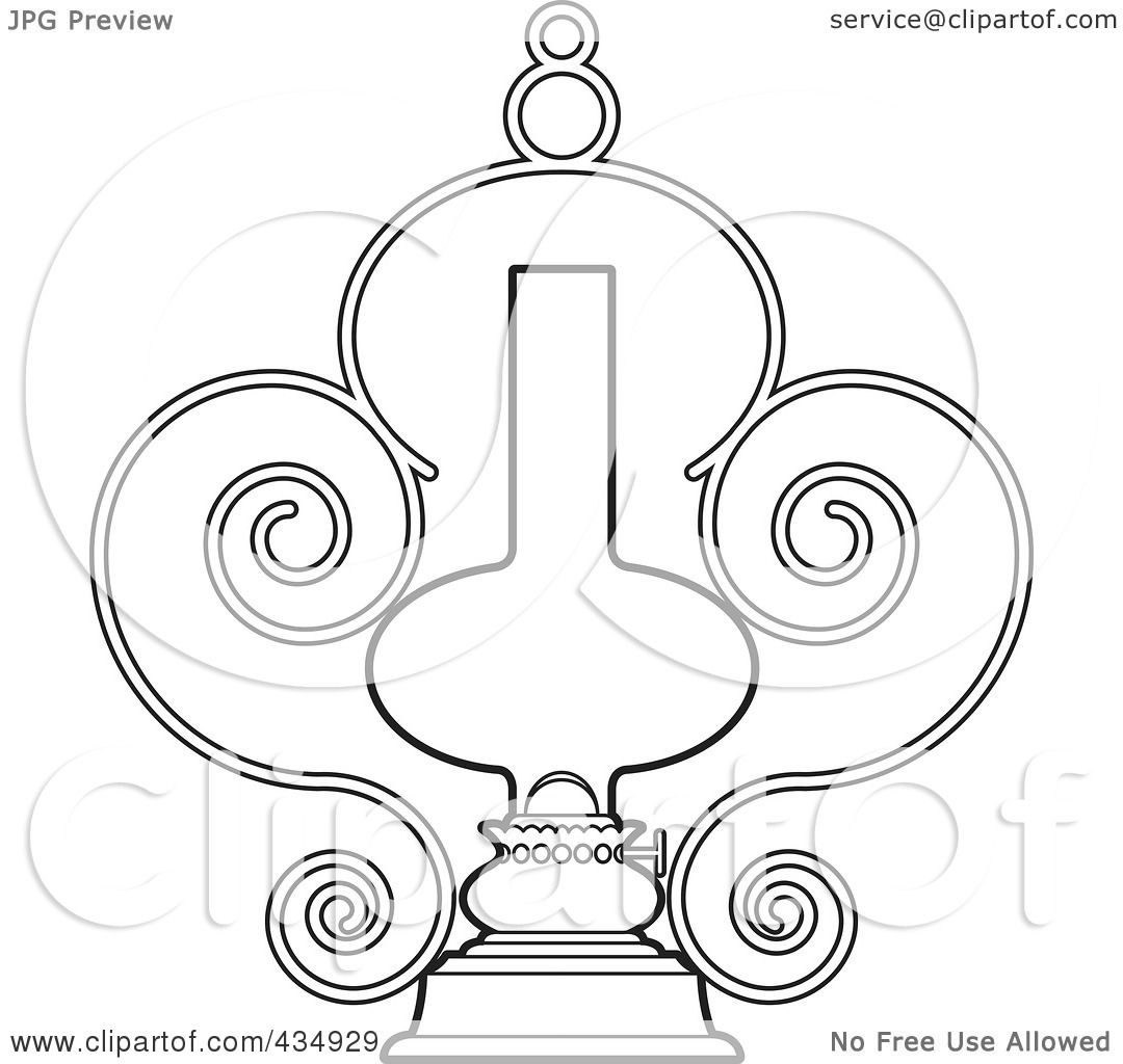 1080x1024 Royalty Free (Rf) Clipart Illustration Of An Outlined Ornate Lamp