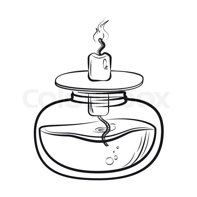 800x800 Sketch Of Spirit Lamp Chemical Burner. Chemical Experiments