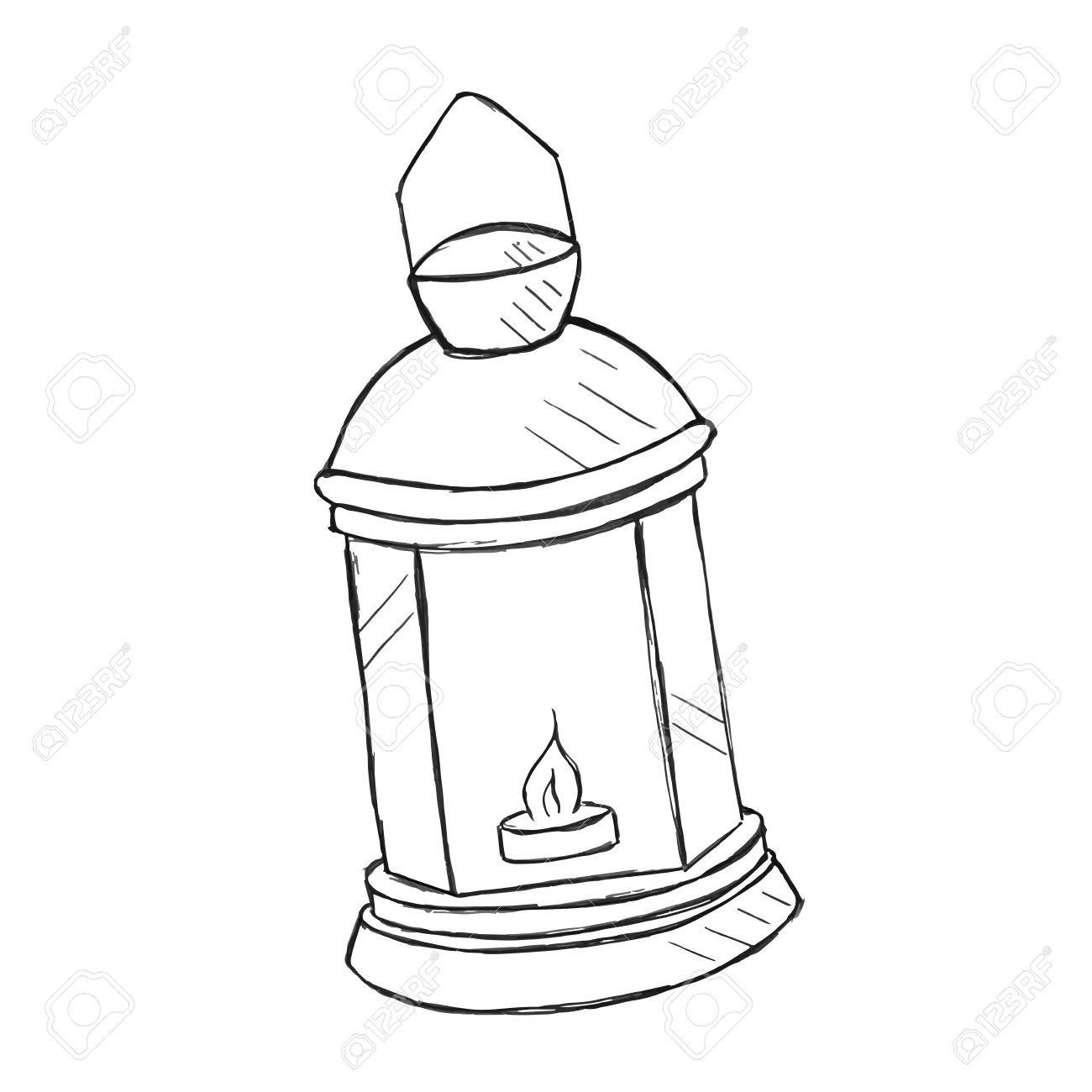1300x1300 Vector Hand Drawn Kerosene Lamp, Doodle Style Royalty Free