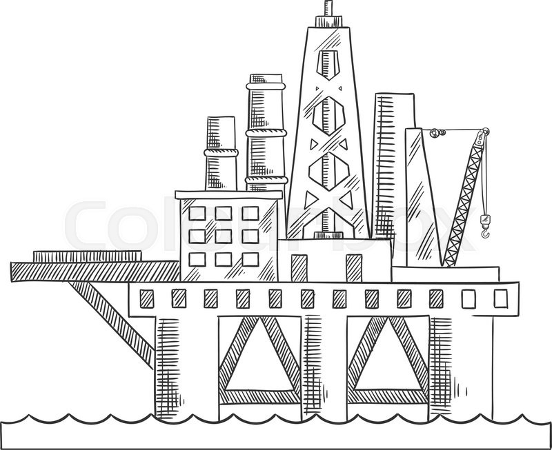 800x653 Rising Above The Sea Oil Platform. Platform Drilling Offshore Oil