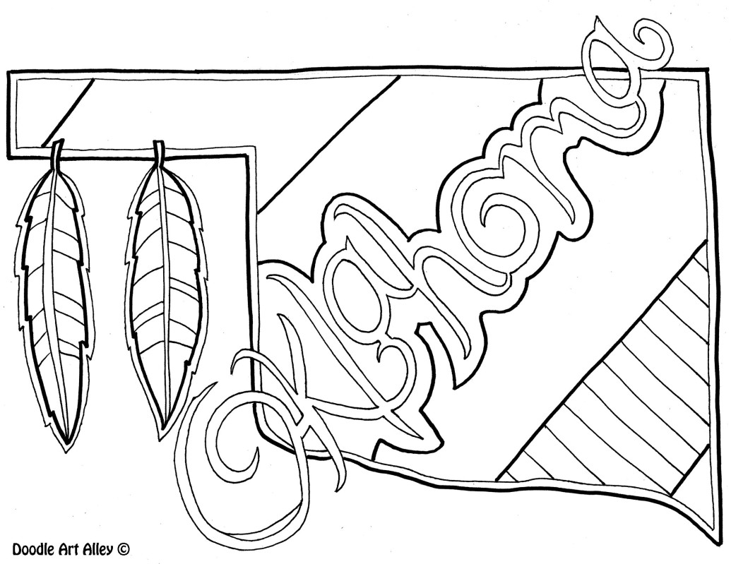 1035x799 Oklahoma Coloring Page By Doodle Art Alley Usa Coloring Pages