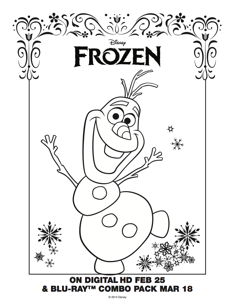 913x1190 The Olaf The Snowman From Frozen Coloring Pages Disney's Frozen