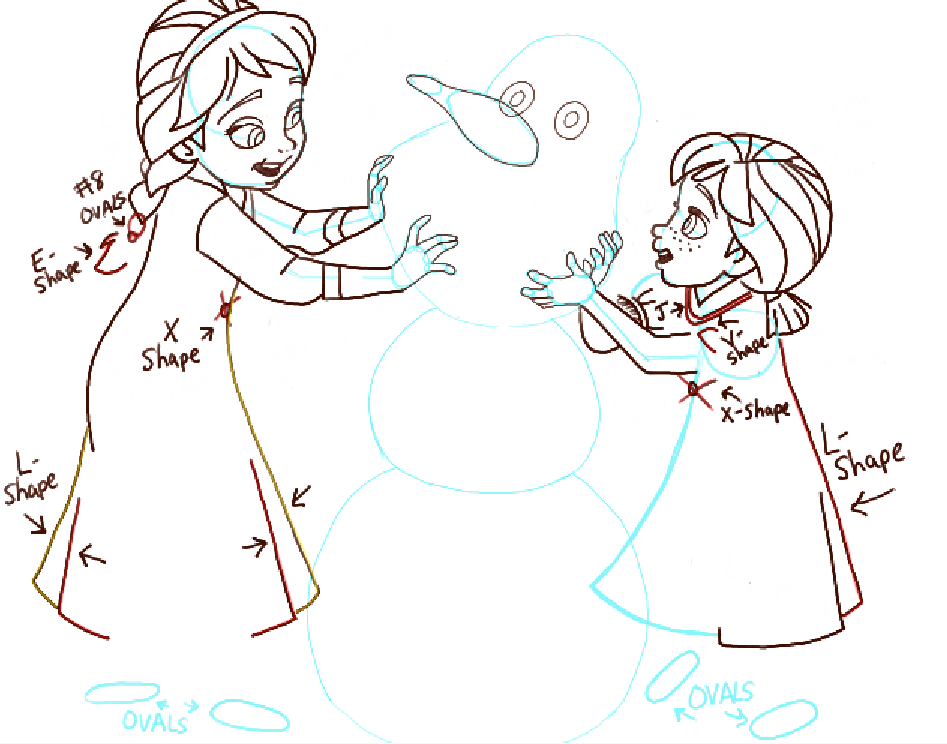 947x744 How To Draw Princess Anna And Elsa Building A Snowman From Frozen