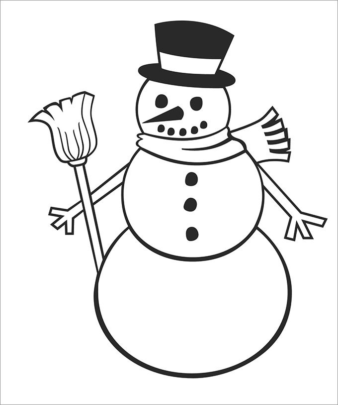 680x813 Snowman With Scarf Coloring Page Winter Hat Coloring Page
