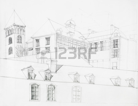 450x346 Hand Drawn Architectural Drawing Of Modern Pavillion Building