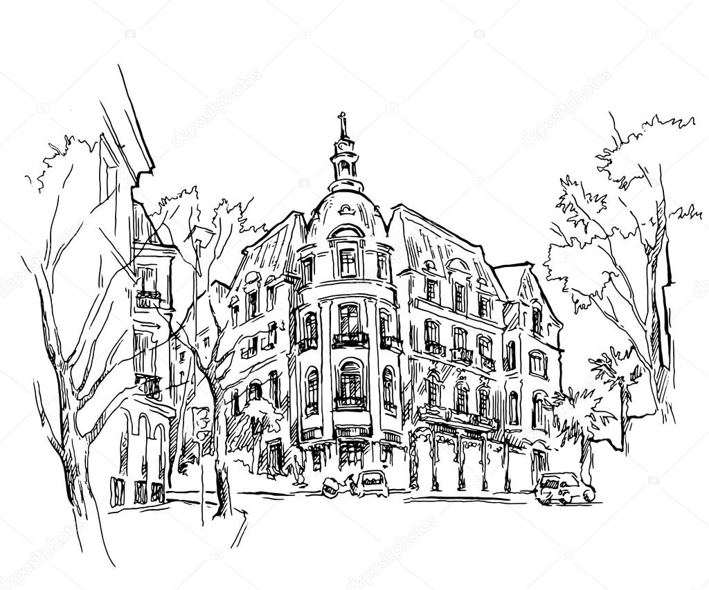 1024x853 Old Town Sketch. Vector Drawing Stock Vector Ring Ring