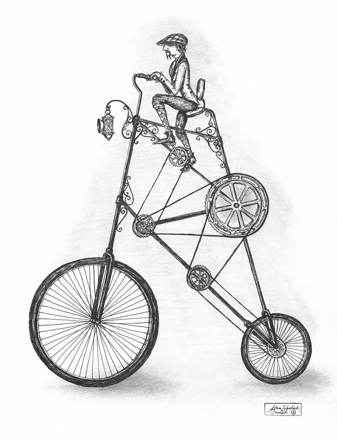 690x900 Old Bicycle Drawings Fine Art America