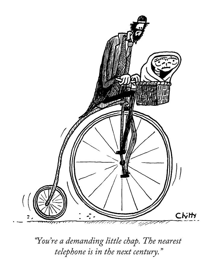703x900 A Man On An Old Timey Bicycle Speaks To E.t Drawing By Tom Chitty