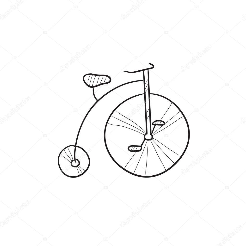 1024x1024 Old Bicycle With Big Wheel Sketch Icon. Stock Vector Rastudio