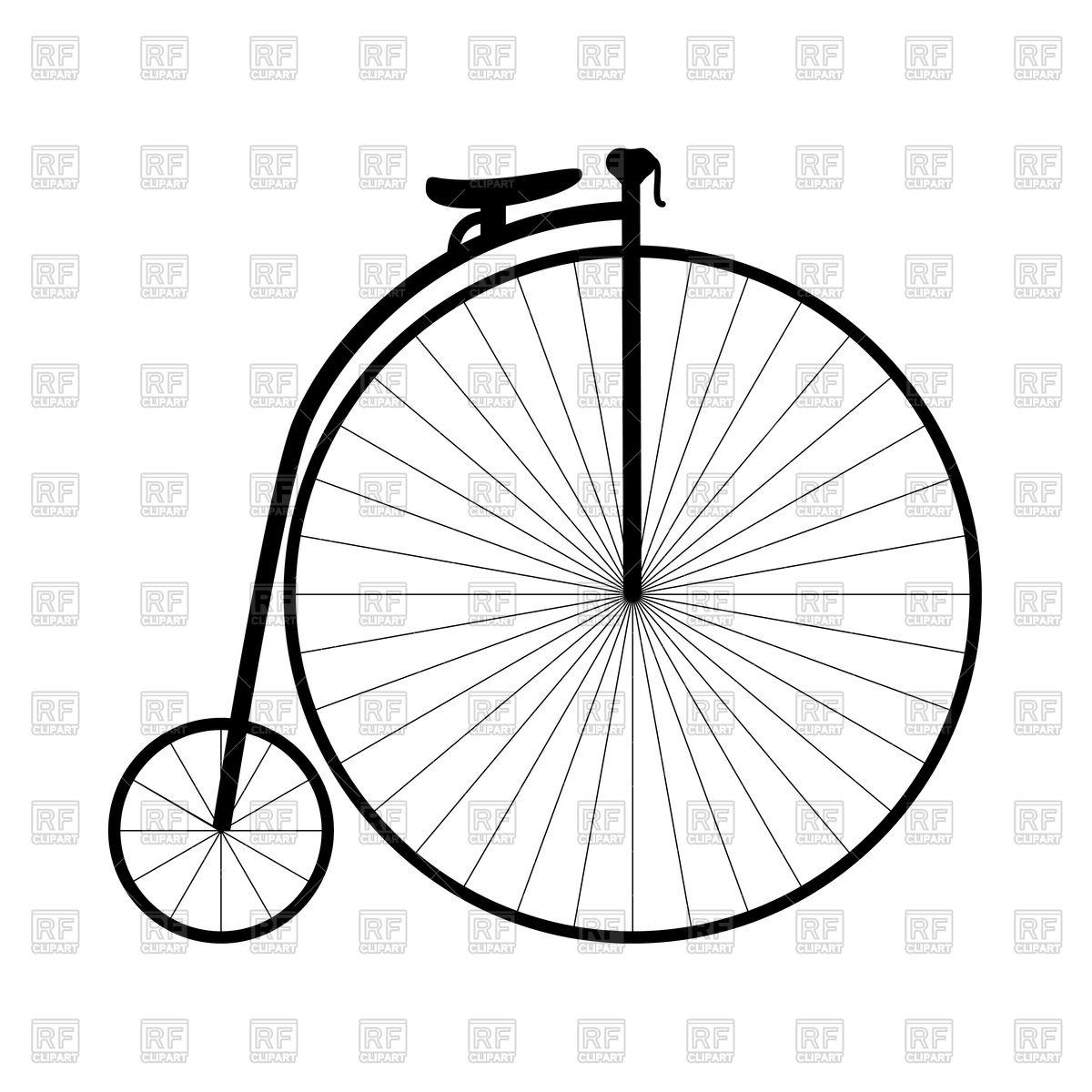 1200x1200 Retro Bicycle With Big Wheel Royalty Free Vector Clip Art Image