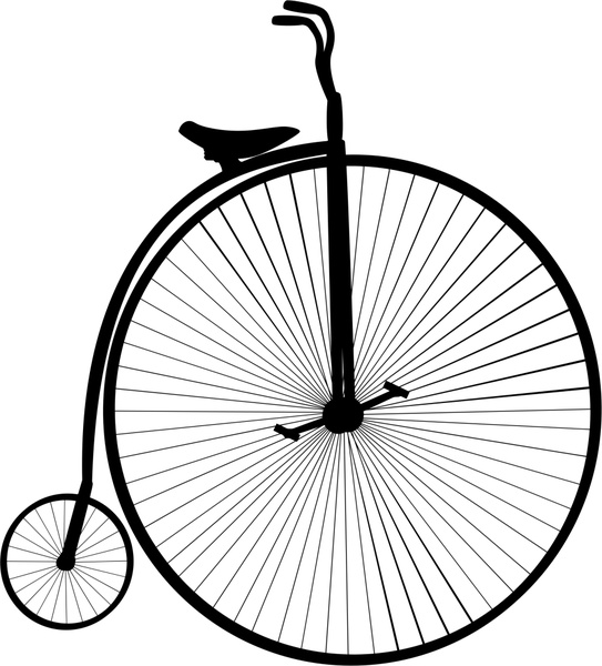543x600 Vintage Bicycle Vector Design Black And White Free Vector