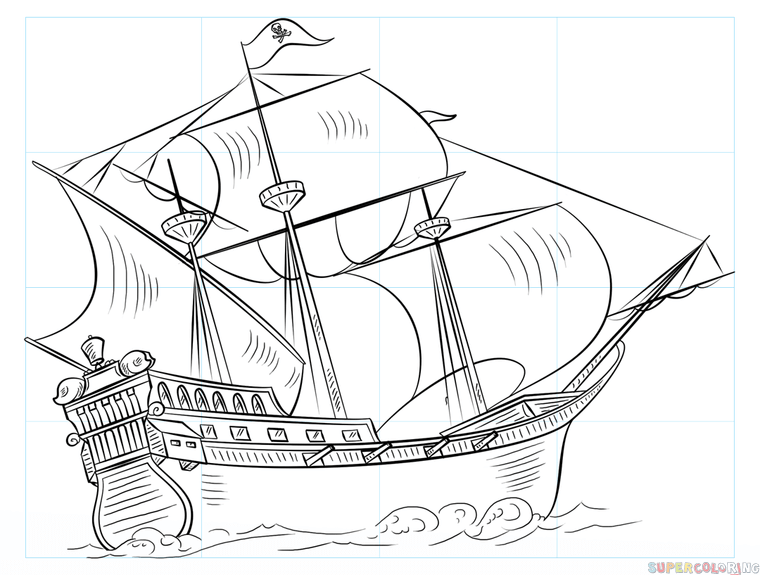 760x575 How To Draw A Pirate Ship Step By Step Drawing Tutorials