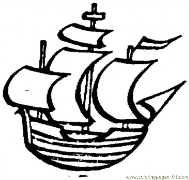 650x621 Old Little Ship Coloring Page