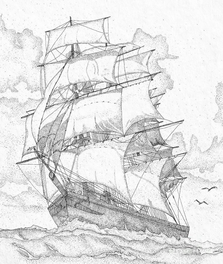 761x900 Old Sailboat Drawings