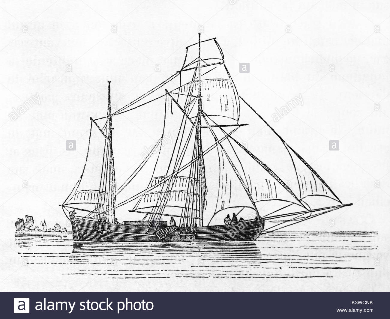 1300x1064 Old Illustration Of A Galiot, Dutch Trading Vessel. By