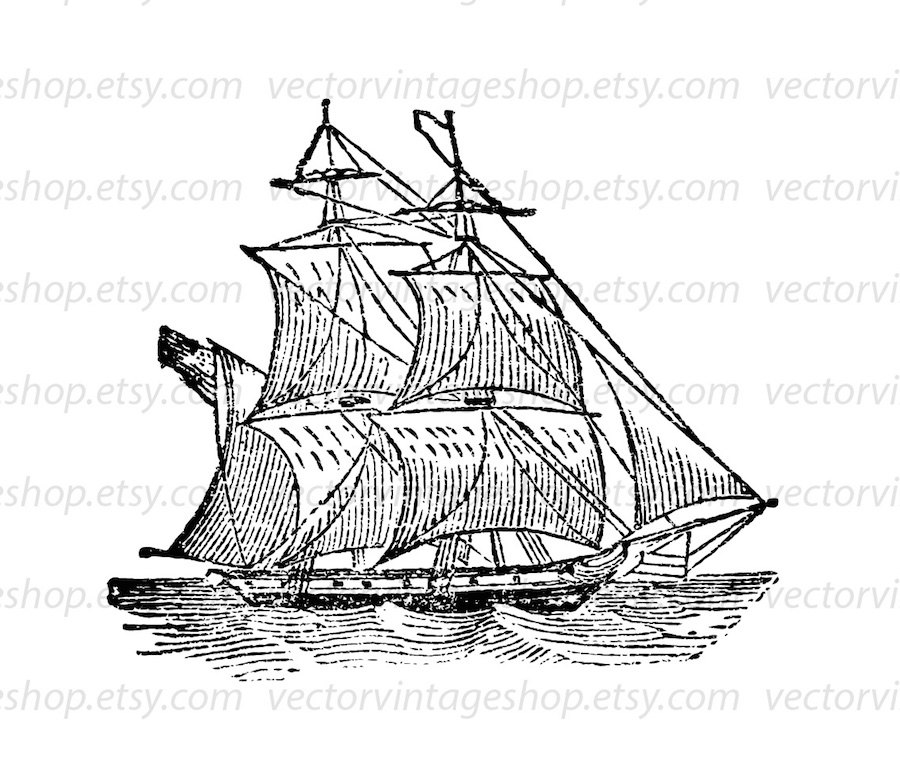 900x769 Ship Vector Graphic Instant Download, Two Mast Brig Boat Antique