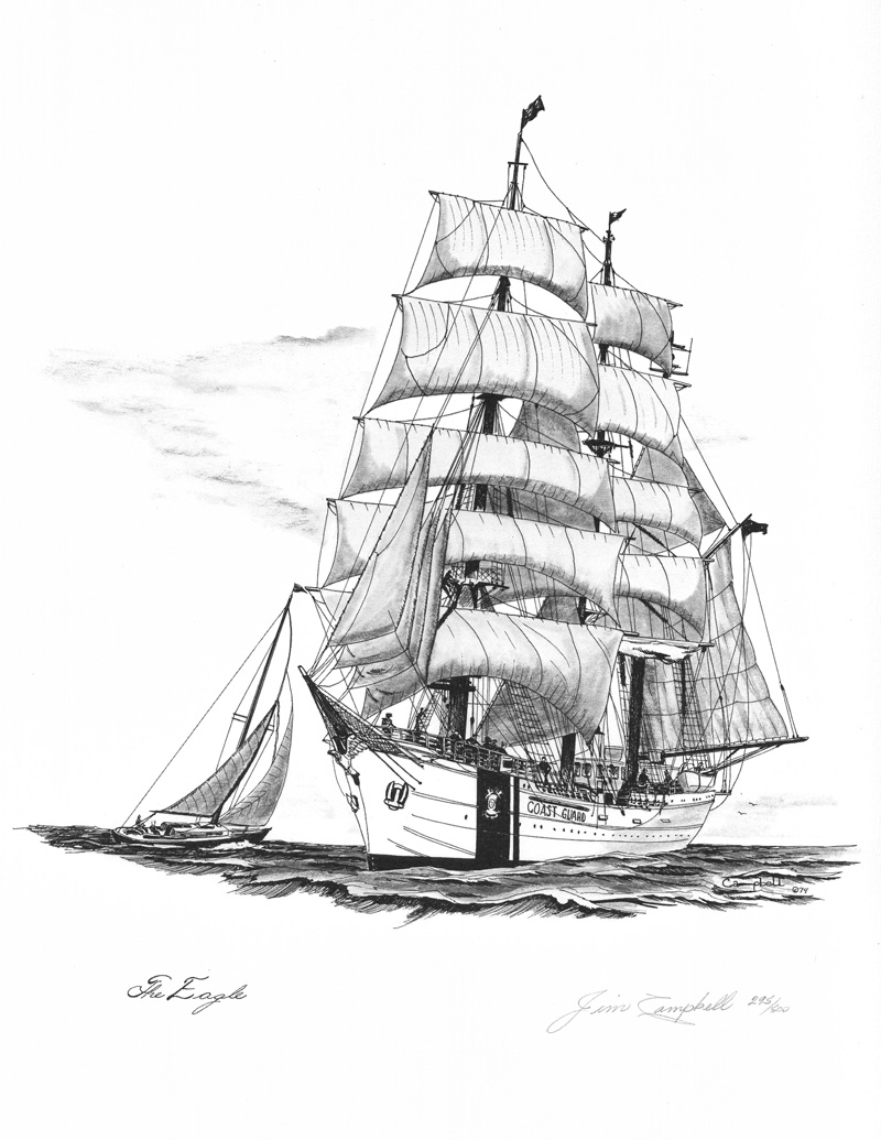 800x1035 Old Cutter Ships The Eagle Pen And Ink Drawing By Marine Artist