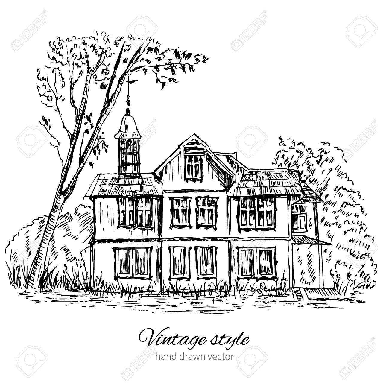 1300x1300 Old Wooden House In Woods Europe Illustration Isolated On White