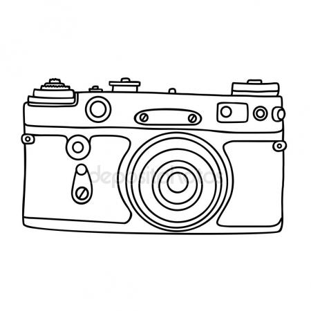 450x450 Hand Drawn Hipster Old Photo Camera. Vintage Camera Icon. Simple