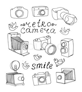 283x320 Set Of 6 Sketch Vintage Camera, Free Hand Vector Illustration