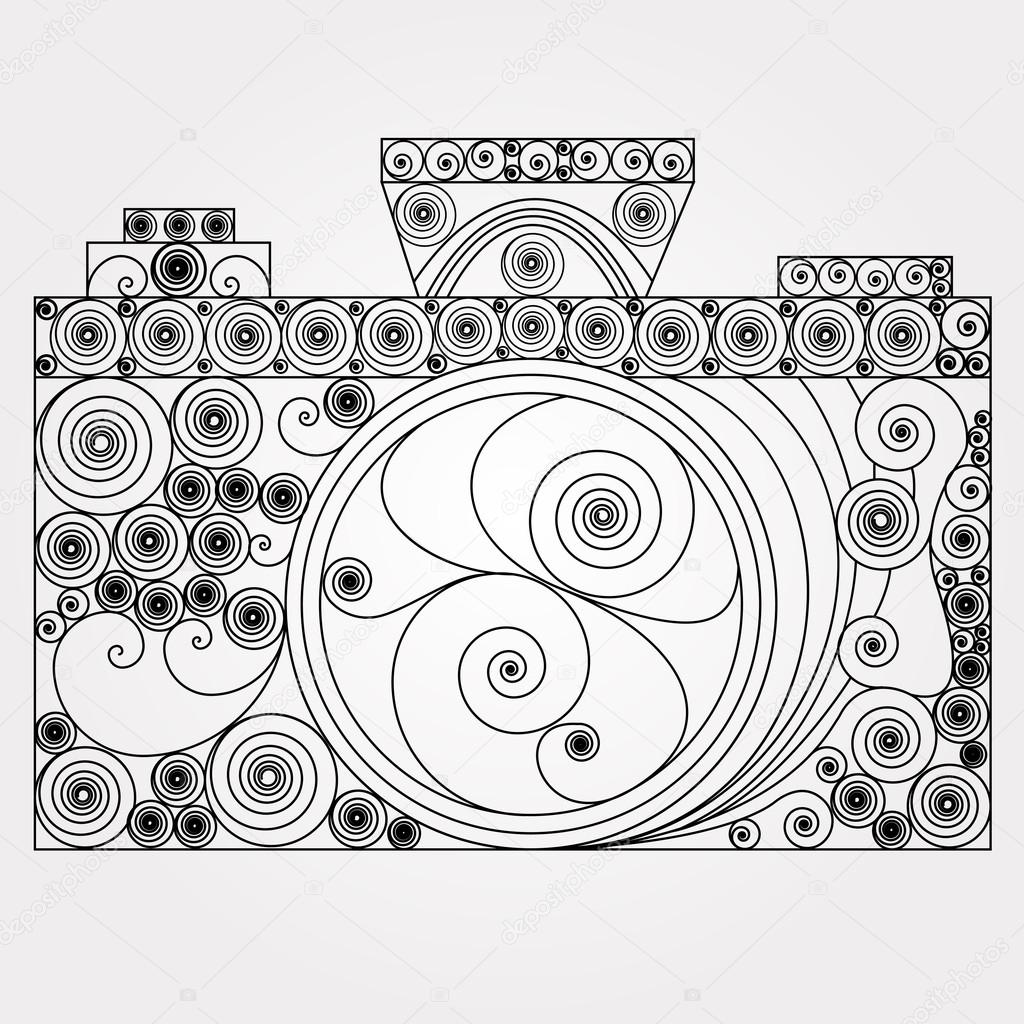 1024x1024 The Photo Camera In Quilling Style. Black And White Design Retro