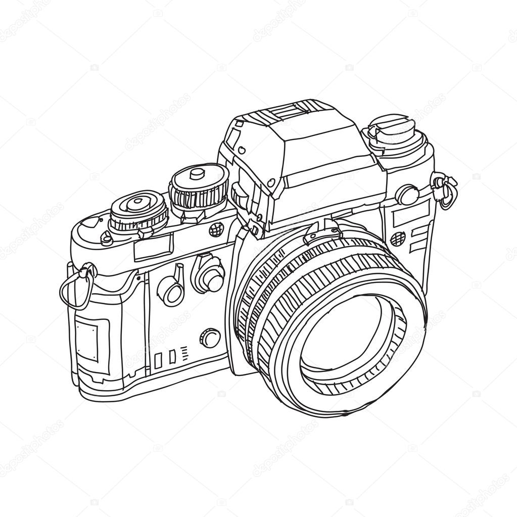 1023x1023 Vintage Old Photo Camera Drawn Vector Illustration Stock Vector