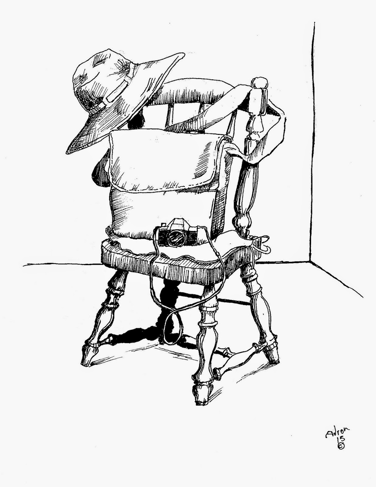 1236x1600 Artist Adron Pen Drawing Of Old Chair, Camera, Hat, And Shoulder