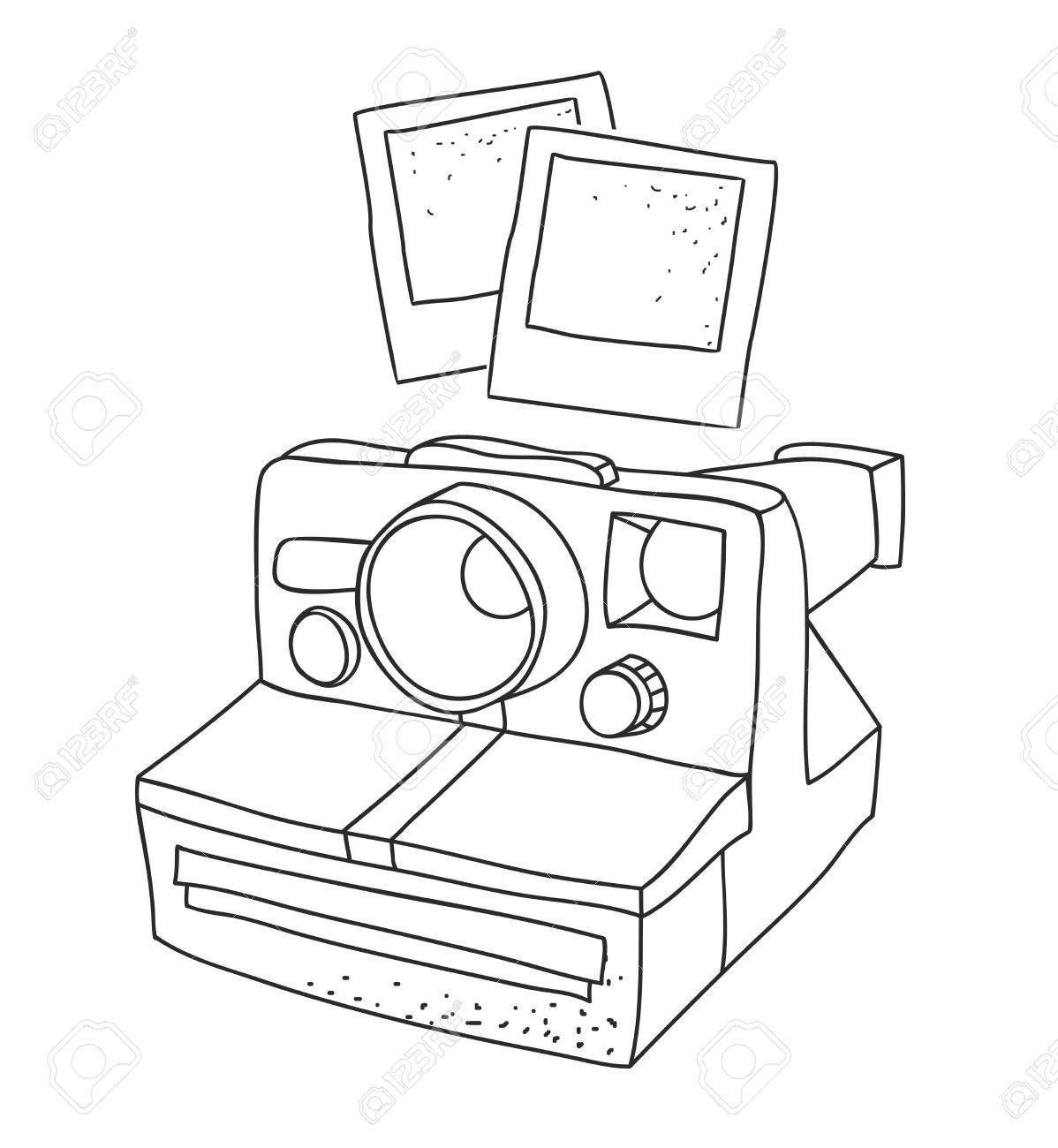 1198x1300 Black And White Silhouette Of Old Photo Camera. Vector