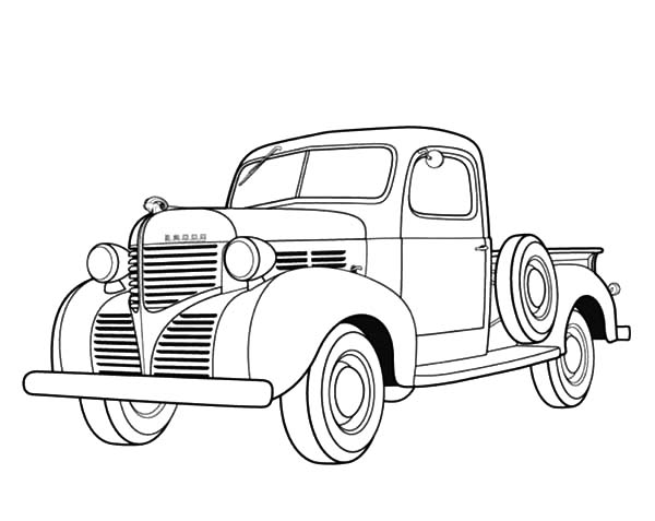 600x477 Dodge Pickup 1939 Old Car Coloring Pages Coloring Sky
