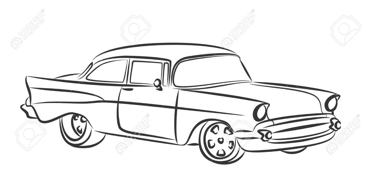 1300x643 Sketch Old Car. Royalty Free Cliparts, Vectors, And Stock