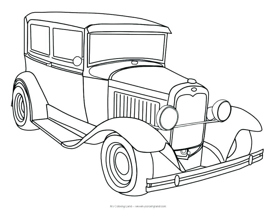 878x678 Classic Car Coloring Pages