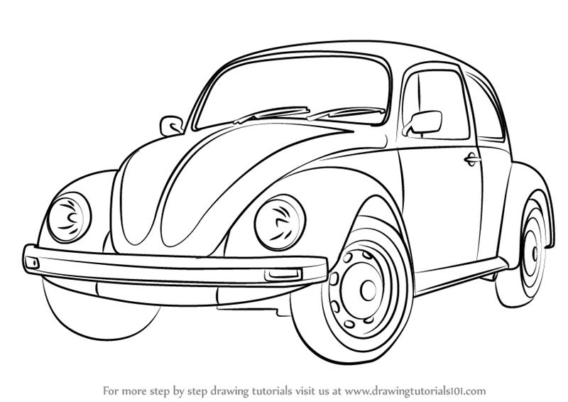800x566 Learn How To Draw Vintage Volkswagen Beetle (Vintage) Step By Step