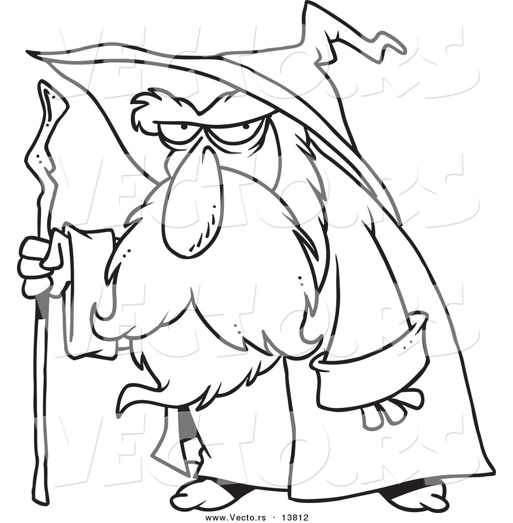 1024x1044 cool vector of a cartoon old wizard using his cane