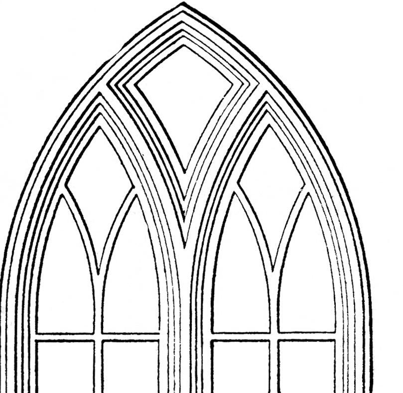 809x789 Gothic Church Windows Clip Art