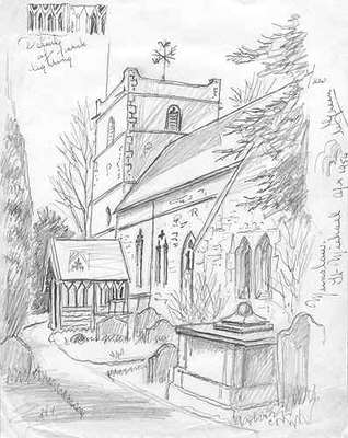 318x400 Munslow, Church, Shropshire, Pencil Drawing