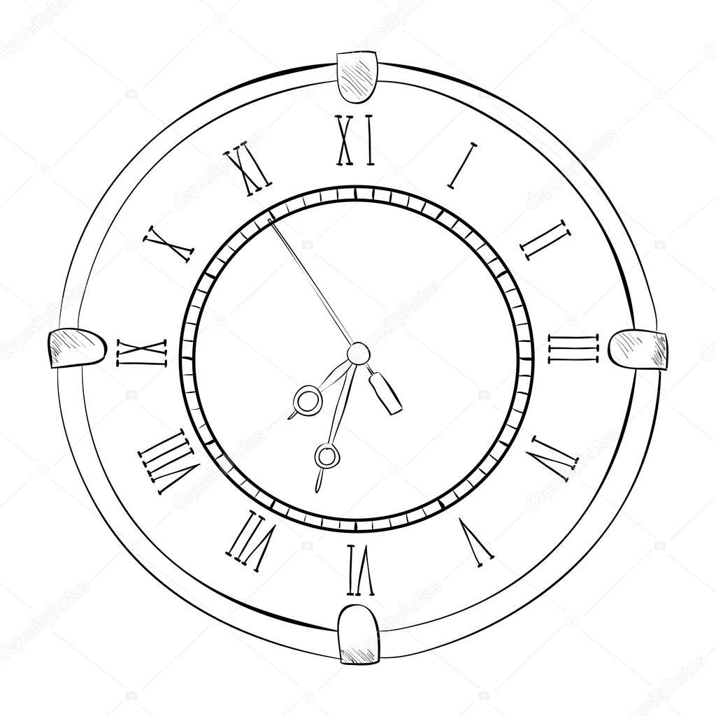 1024x1024 Sketch Of Old Clock Stock Vector Beatwalk
