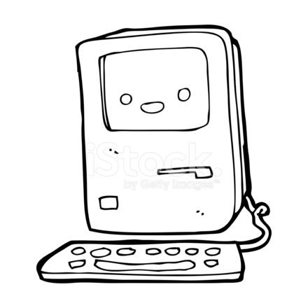 440x440 Cartoon Old Computer Stock Vector