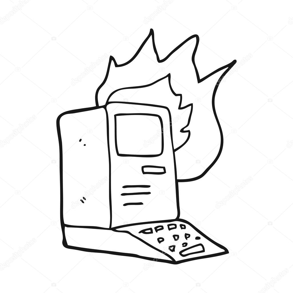 1024x1024 Black And White Cartoon Old Computer On Fire Stock Vector