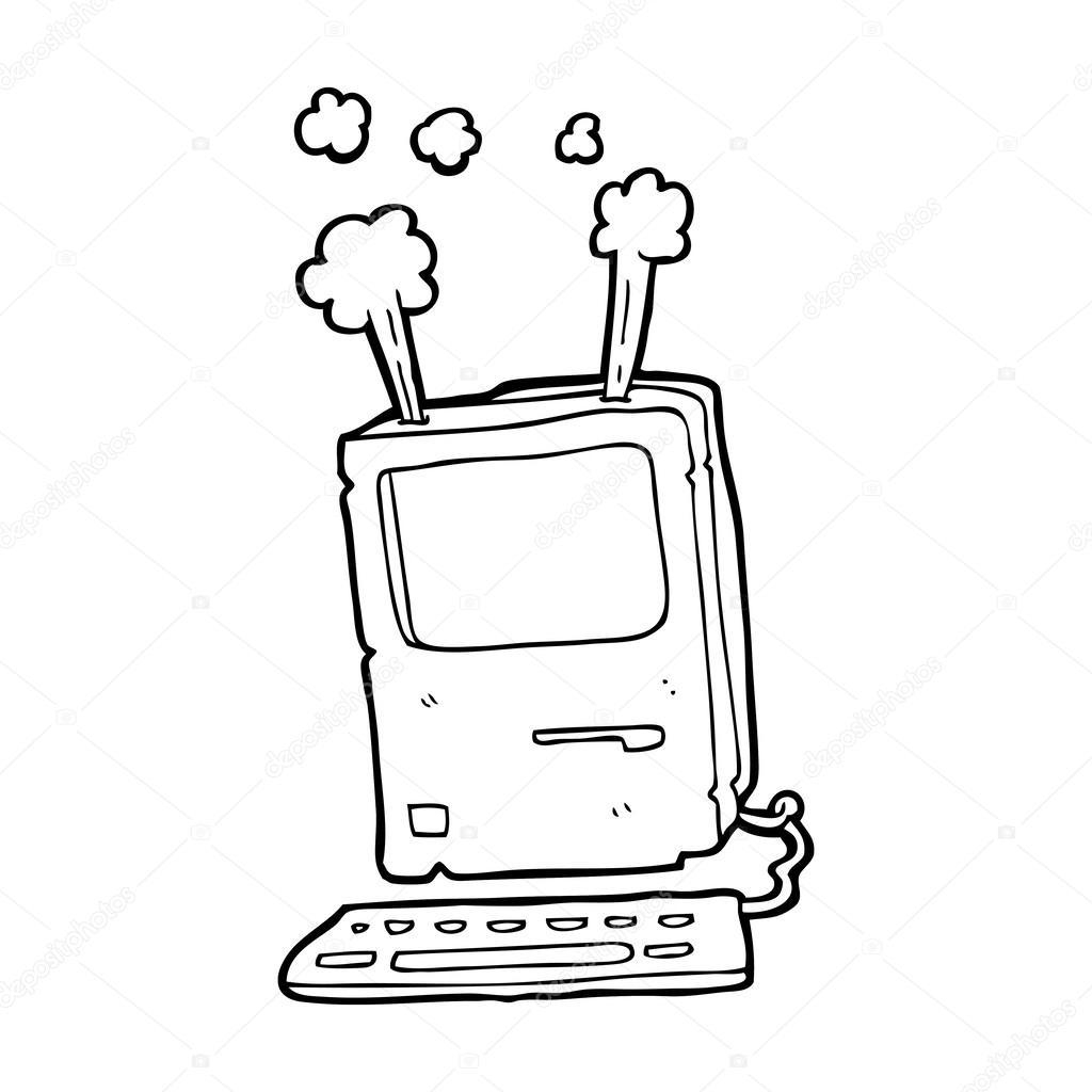 1024x1024 Cartoon Old Computer Stock Vector Lineartestpilot