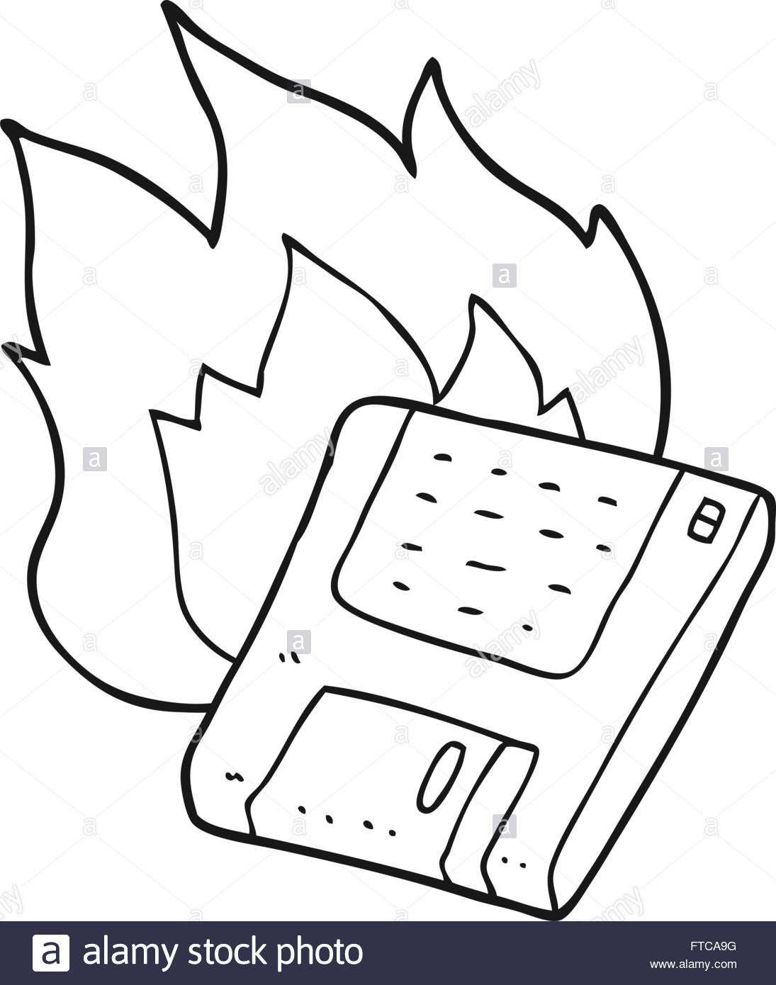 1095x1390 Freehand Drawn Black And White Cartoon Old Computer Disk Burning