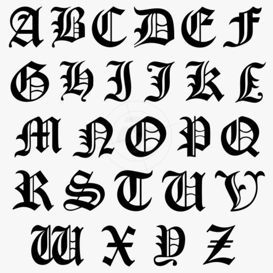880x880 Capital Letters, Initial Sticker, Typeface Old English, Aufkleber