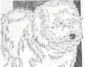 340x270 Old English Sheepdog Papercutting Handcut Original Old English