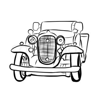 320x320 Hand Drawn Sketch Of Classic Car, Vintage Car, Transport