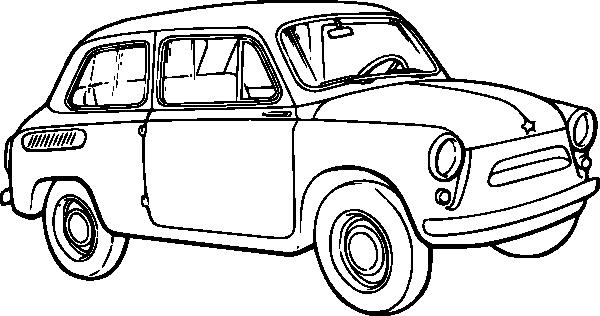 600x316 Old Car Outline Clip Art