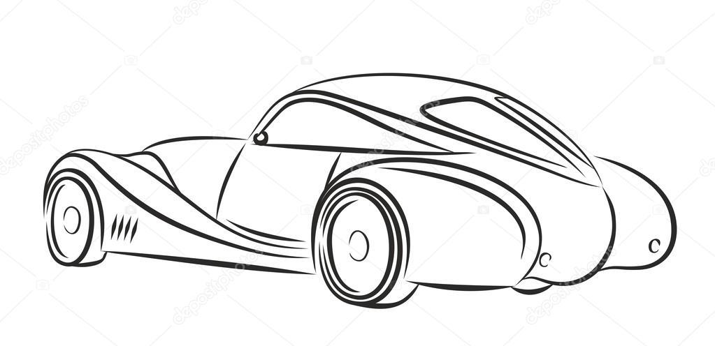 1023x496 Car Retro Drawing. Stock Photo Designer