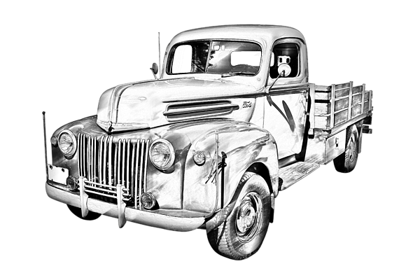 600x400 Old Flat Bed Ford Work Truck Illustration T Shirt For Sale By